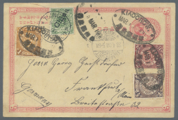 China - Ganzsachen: 1900, Stationery Card 1 C. Rose, Uprated By 1/2 C. Brown, 1 C. Ocre And 2 C. Carmine, Cancelled With