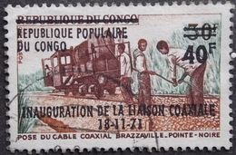 CONGO Y&T 310 (o) INAUGURATION DE LA LIASON COAXIALE SURCHARGE 40/30F RECTO VERSO - Congo - Brazzaville