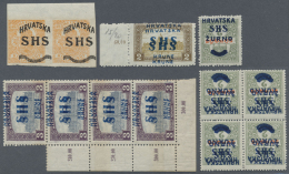 """Kroatien: 1918. Kl. Lot Von Jugoslawische Überdruck-Ausgaben """"SHS"""" Für KROATIEN Auf Verschiedenen Ungarischen"""