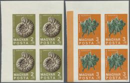 Ungarn: 1969, 100 Jahre Staatliches Geologisches Institut, GESCHNITTENE Postfrische Vierblocks, Je Aus Der Linken Oberen