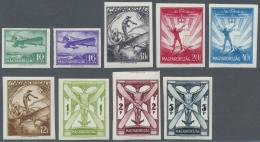 Ungarn: 1933, Flugpost, Alle 9 Werte Je UNGEZÄHNT, Tadellos Postfrisch, Eine Sehr Seltene Serie!