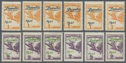 Ungarn: 1931, Zeppelin Beide Werte Je 6x Ungebraucht Mit Falzspuren, Mi. € 1.200,-- Für Postfrisch