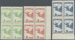 Ungarn: 1927/1930, Flugpostausgabe 'Turul' Kompl. Satz Von 12 Werten In Postfrischen Viererblocks, Mi. € 360,-- +