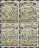 Ungarn: 1924, 600 Kr. Gelboliv 'Schnittertype' Im Eckrand-Viererblock, Dabei Die Rechte Untere Marke Mit Fehldruck Der R