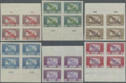 Ungarn: 1924, Flugpostmarken UNGEZÄHNT Im Viererblock Vom Bogenober- Bzw. Unterrand, Postfrisch, Signiert, Michel O