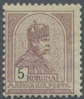 Ungarn: 1901, Freimarke: König Franz Josef 5 Kr Braunlila/ Schwarz, Postfrisch, M€150,- Für *.