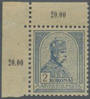 Ungarn: 1901, Freimarke: König Franz Josef 2 Kr Graublau/ Schwarz, Postfrisch Aus Der Linken Oberen Bogenecke, Sign