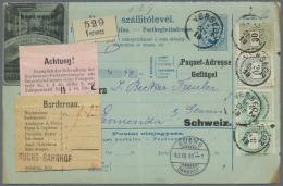 Ungarn: 1896, 3 K Im Paar, 20 Und 30 K Auf Seltener Paketkarte Mit Bildzudruck Firma L. Bauer, Geflügelmast Ab VERC