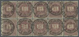 Ungarn: 1888, Freimarken: Brief Mit Wertziffern 3 Ft Lila/ Rot Im Gestempelten Zehnerblock, M€ca.800,-.