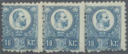 Ungarn: 1871, Freimarken: König Franz Josef 10 K. Blau Im Stichtiefdruck, Waagerechter Angefalteter Dreierstreifen,