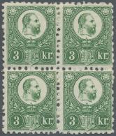 Ungarn: 1871, Freimarken: König Franz Josef 3 K. Grün Im Stichtiefdruck, Im Angefalteten Viererblock, Obere Ma