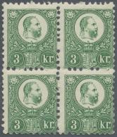 Ungarn: 1871, Freimarken: König Franz Josef 3 K. Grün Im Stichtiefdruck, Im Angefalteten Postfrischen Viererbl