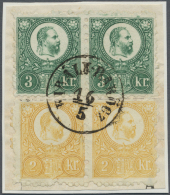 Ungarn: 1871, 2kr. Yellow And 3kr. Green, Each As Horiz. Pair, Mounted As Block Of Four, On Piece, Centrically Oblit. By