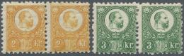 Ungarn: 1871, Freimarken: König Franz Josef 2 K. Und 3 K. Im Stichtiefdruck, Je Waagerechtes Ungebrauchtes Paar, M&