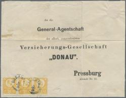 Ungarn: 1871, Freimarken: König Franz Josef 3 K. Grün Im Stichtiefdruck, Waagerechter Dreierstreifen Auf Dreis