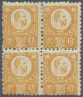 Ungarn: 1871, Freimarken: König Franz Josef 2 K. Orange Im Stichtiefdruck, Ungebraucht Im Viererblock, Oben Mit Fal