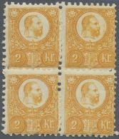 Ungarn: 1871, Freimarken: König Franz Josef 2 K. Orange Im Stichtiefdruck, Postfrisch Im Angefalteten Viererblock.