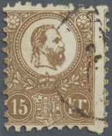 Ungarn: 1871, Freimarke: König Franz Josef 15 K. Hellbraun Im Steindruck, Gestempelt, Type II, Fotoattest Orban, M&