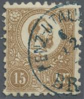 Ungarn: 1871, Freimarke: König Franz Josef 15 K. Braun Im Steindruck, Mit Blauem Stempel, Signiert A. Diena, M&euro