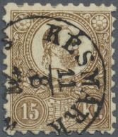 """Ungarn: 1871, Freimarke: König Franz Josef 15 K. Braun Im Steindruck, Gestempelt """"KESMARK 11/8"""", Signiert A. Diena,"""