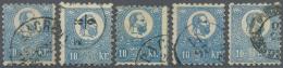 Ungarn: 1871, Freimarke: König Franz Josef 10 K. Blau Im Steindruck, 5 Gestempelte Werte Type I, V, VII, IX Und X,