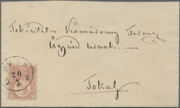 """Ungarn: 1871 'Franz Josef' 5c., Lithographed, Single Franking On Cover From Pest To Tokay, Tied By """"PEST 20/3 O H"""" Cds,"""