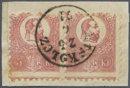 Ungarn: 1871, Freimarken: König Franz Josef 5 K. Rosa Im Steindruck, Im Waagerechten Paar Auf Briefstück, Gest