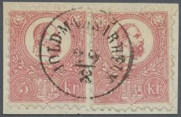 Ungarn: 1871: König Franz Josef, 5 K. Rosa Im Steindruck, Zwei Exemplare (rechte Marke Fehlender Zahn Rechts) Geste