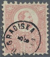 "Ungarn: 1871, Freimarke: König Franz Josef 5 K. Rosa Im Steindruck, Sauber Gestempelt ""NEU GRADISKA 5/8 71"", Fotoat"