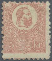 Ungarn: 1871, Freimarke: König Franz Josef 5 K. Rosa Im Steindruck, Ungebraucht, Etwas Dezentriert, Signiert A. Die