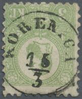 """Ungarn: 1871, Freimarke: König Franz Josef 3 K. Grün Im Steindruck, Einwandfrei Gestempelt """"KORENICA 15/3"""", M&"""