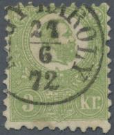 "Ungarn: 1871, Freimarke: König Franz Josef 3 K. Grün Im Steindruck, Einwandfrei Gestempelt ""NAGY KAROLY 27/6 7"