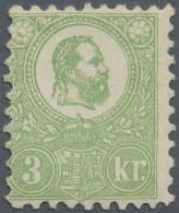 Ungarn: 1871, Freimarke: König Franz Josef 3 K. Grün Im Steindruck, Einwandfrei Ungebraucht, Signiert, M€
