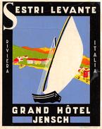 """D5877 """"GRAND HOTE JENSCH - SESTRI LEVANTE - ITALY"""" ETICHETTA ORIGINALE - ORIGINAL LABEL 7 - Adesivi Di Alberghi"""