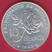 Monaco - ESSAI - Princesse Grace - 10 Francs Argent - 1982 - Monaco