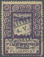Schweiz - Halbamtliche Flugmarken: 1913, 50 C. Flugpost Langnau-Bern Sauber Gestempelt, Sign. Und Fotoattest Liniger. Au