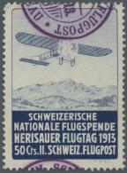 Schweiz - Halbamtliche Flugmarken: 1913, 50 C. Flugpost Herisau-Niederglatt Sauber Gestempelt. Auflage 6.300 Marken.