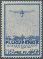 Schweiz - Halbamtliche Flugmarken: 1913, 50 C. Flugpost Basel-Liestal Sauber Gestempelt.