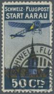 Schweiz - Halbamtliche Flugmarken: 1913, 50 C. Flugpost Aarau-Olten Sauber Gestempelt, Rechts Oben Etwas Flache Zäh