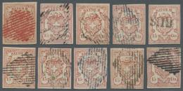Schweiz: 1852: Komplette Typentafel Der Rayon III 15 Cts. Ziegelrot, Alle 10 Werte Farbfrisch, Voll- Bis Breitrandig Und