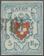 Schweiz: 1850 Rayon I 5 Rp. Hellblau, Type 26, Stein C2-RO, Mit Ca. 4/12 Kreuzeinfassung, Gebraucht Und Entwertet Mit Te