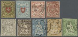 Schweiz: 1850-61: Partie Von 4 Rayonmarken Und 5 Strubel, Dabei Rayon II, R. I Hellblau, R.III 15 Rp. Mit Kl. Sowie 15 R