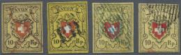 Schweiz: 1850/1852: Vier Gebrauchte Exemplare Der Rayon II Von Verschiedenen Drucksteinen Und Mit Verschiedenen Entwertu