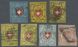 """Schweiz: 1850-52: Sieben Rayonmarken, Dabei Rayon I Dkl'blau (ohne KE), Typ 31, Mit Schwarzem """"P.P."""" (oben Angeschnitten"""