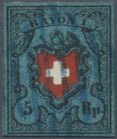 Schweiz: Rayon 5 Rp. Dunkelblau Ohne Kreuzeinfassung (SBK 15 II), Sauber Gestempeltes Qualitätsstück, Befund R