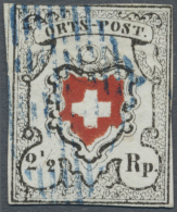 Schweiz: 1850 Ortspost 2½ Rp. Ohne Kreuzeinfassung, Type 33 Mit Spuren Einer Retouche Des Kreuzes (rote Einfassun