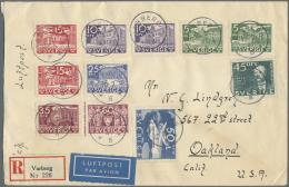 """Schweden: 1935/1936 - """"500 Jahre Schwedischer Reichstag"""" Und """"300 Jahre Schwedische Post"""" Komplett Auf Drei Portogerecht"""