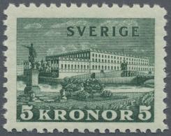 """Schweden: 1931, 5 Kr. Grün Königsschloss Postfrisch In Der Type """"b = Weißes Papier"""", Attest Diena"""