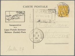 """Schweden: 1925, Flugpostkarte """"Malmoe (Suède)-Paris Frankiert Mit 35 Öre Orangegelb Posthorn."""