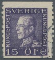 Schweden: 1922, Freimarke König Gustaf V. 15 Ö Violett, Wz. 2 Y, Senkrecht Gezähnt 9¾, Gestempelt,